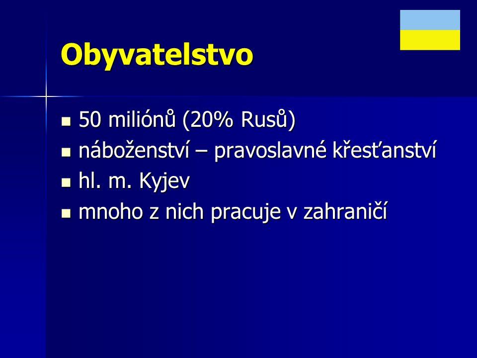 Obyvatelstvo 50 miliónů (20% Rusů)