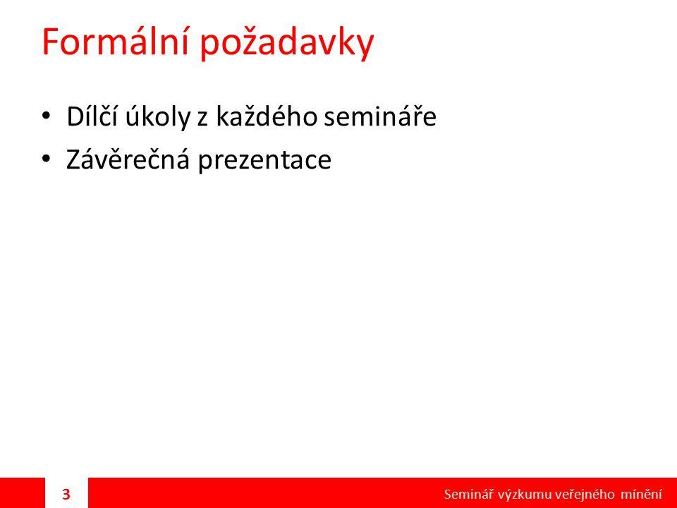Formální požadavky Dílčí úkoly z každého semináře Závěrečná prezentace