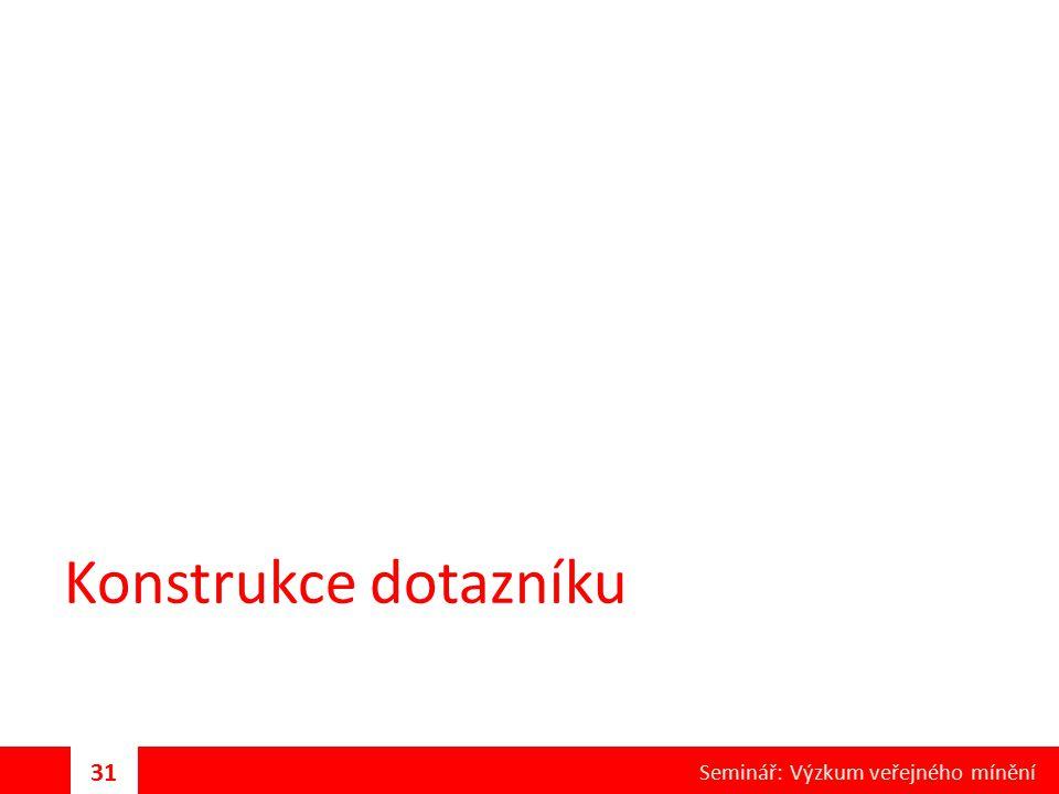 Konstrukce dotazníku Seminář: Výzkum veřejného mínění