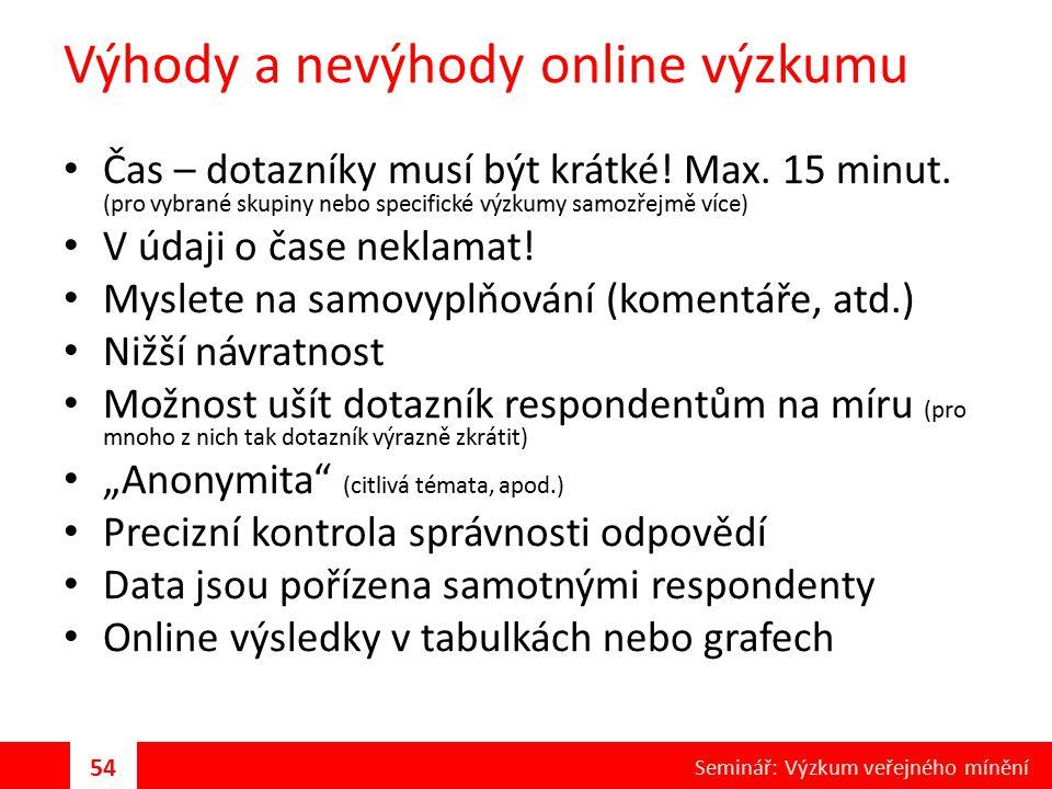 Výhody a nevýhody online výzkumu