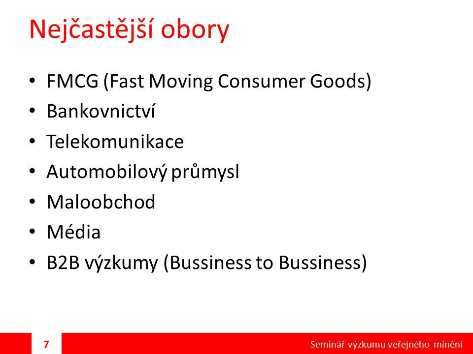 Nejčastější obory FMCG (Fast Moving Consumer Goods) Bankovnictví