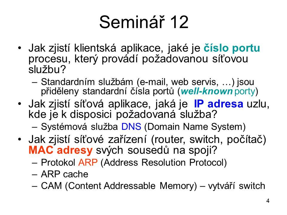Seminář 12 Jak zjistí klientská aplikace, jaké je číslo portu procesu, který provádí požadovanou síťovou službu