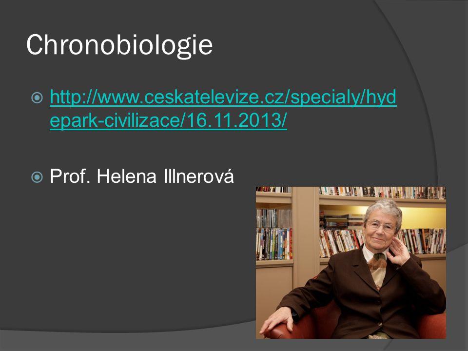 Chronobiologie http://www.ceskatelevize.cz/specialy/hydepark-civilizace/16.11.2013/ Prof. Helena Illnerová.