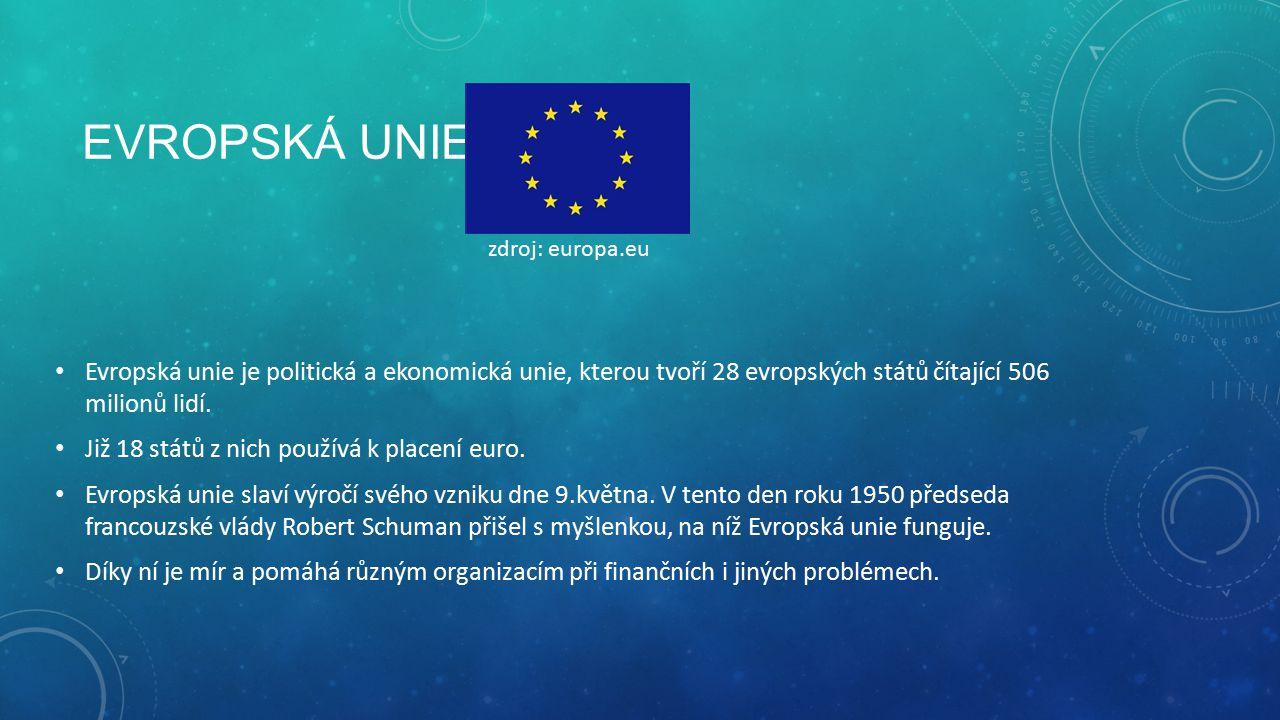 Evropská unie zdroj: europa.eu. Evropská unie je politická a ekonomická unie, kterou tvoří 28 evropských států čítající 506 milionů lidí.