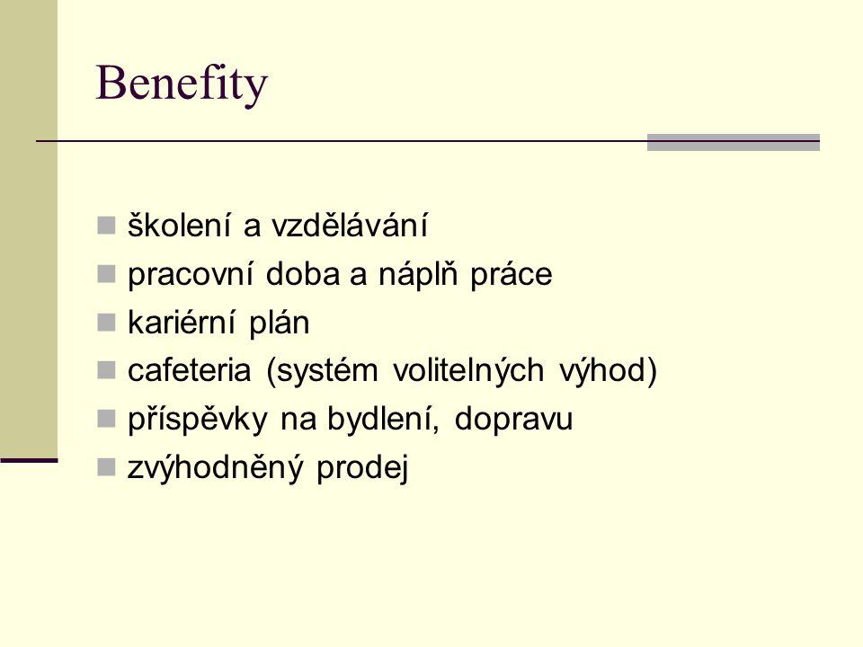 Benefity školení a vzdělávání pracovní doba a náplň práce