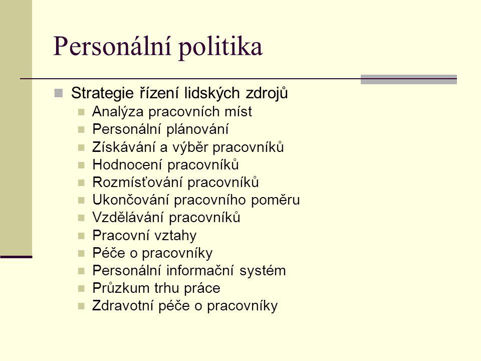 Personální politika Strategie řízení lidských zdrojů