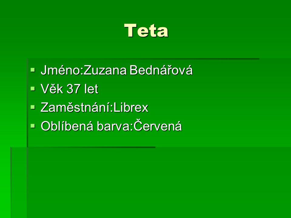 Teta Jméno:Zuzana Bednářová Věk 37 let Zaměstnání:Librex