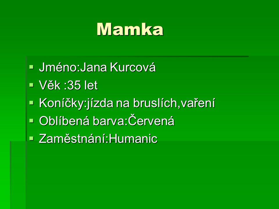 Mamka Jméno:Jana Kurcová Věk :35 let Koníčky:jízda na bruslích,vaření