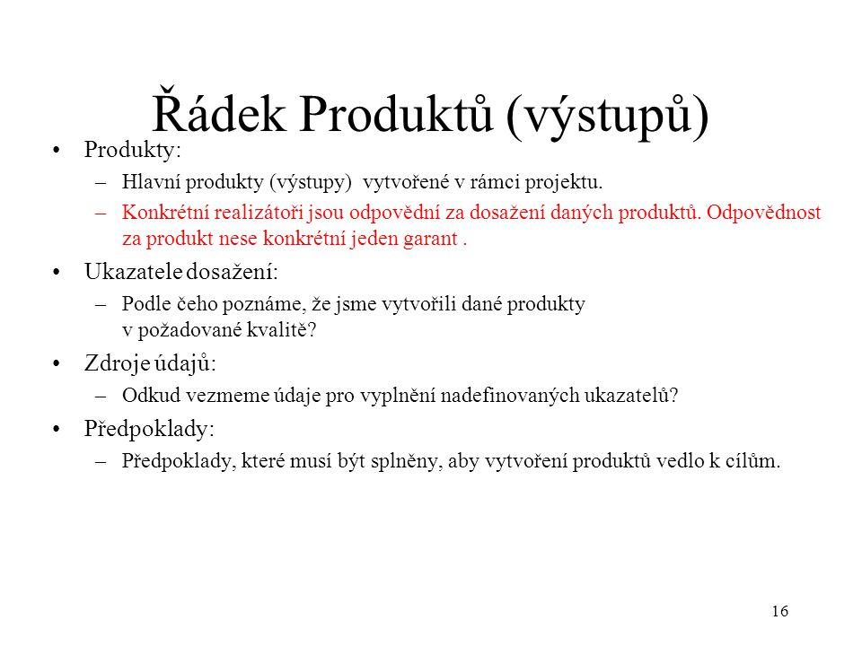 Řádek Produktů (výstupů)