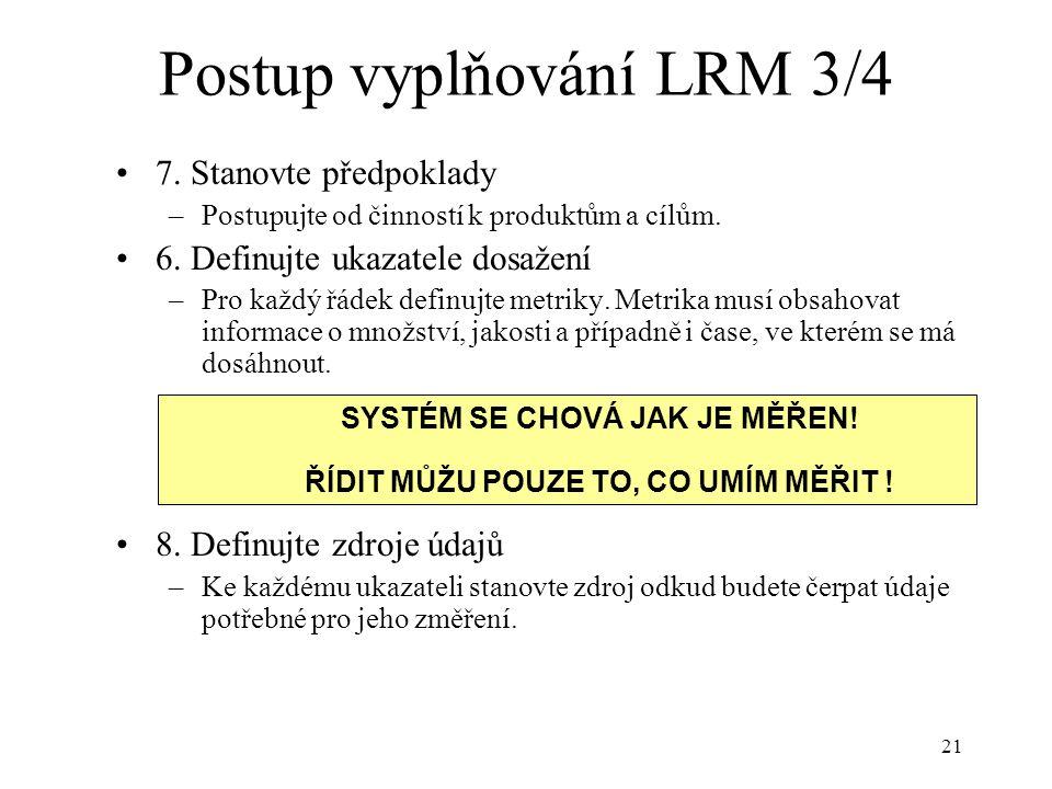 Postup vyplňování LRM 3/4
