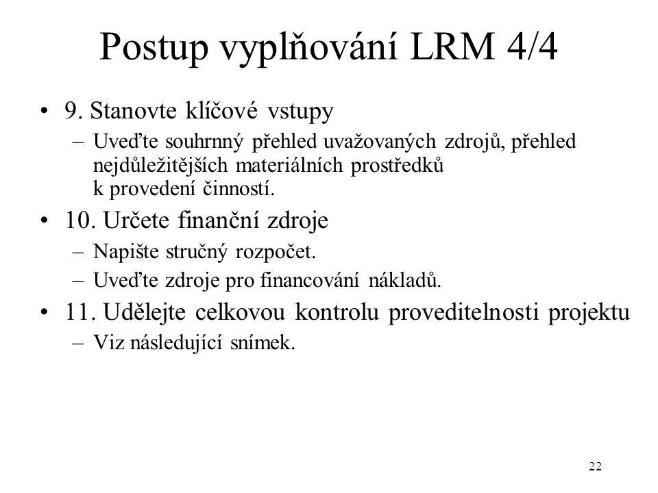 Postup vyplňování LRM 4/4
