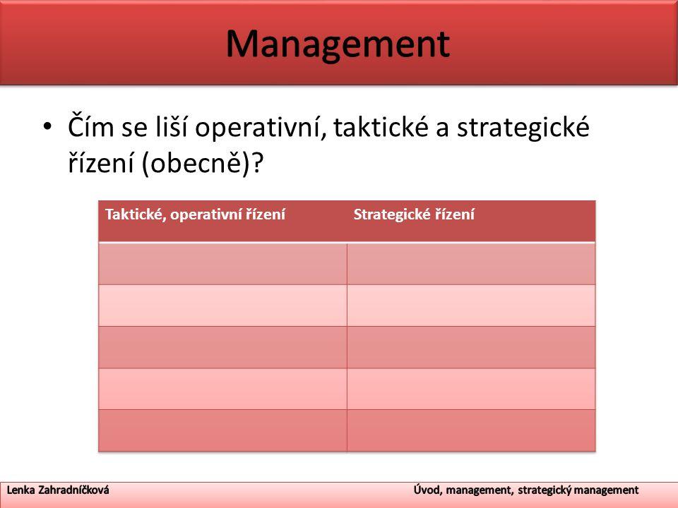 Management Čím se liší operativní, taktické a strategické řízení (obecně) Taktické, operativní řízení.