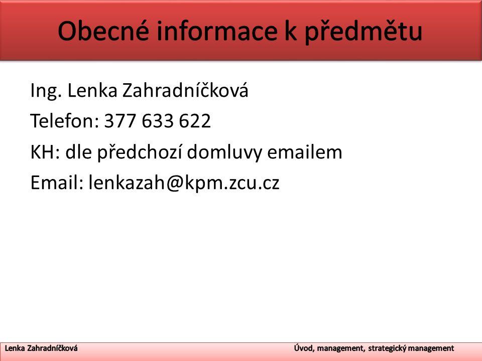 Obecné informace k předmětu