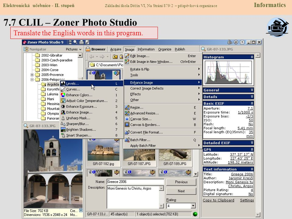 7.7 CLIL – Zoner Photo Studio
