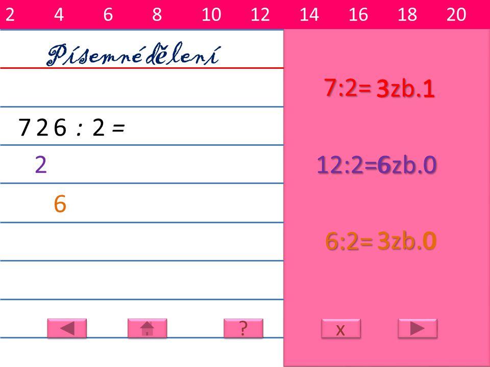 Písemné dělení 7:2= 3 3zb.1 1 7 2 6 : 2 = 2 12:2= 6 6zb.0 6 6:2= 3zb.0