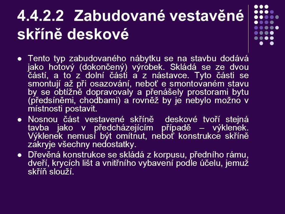 4.4.2.2 Zabudované vestavěné skříně deskové