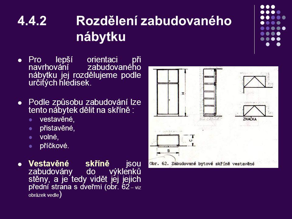 4.4.2 Rozdělení zabudovaného nábytku