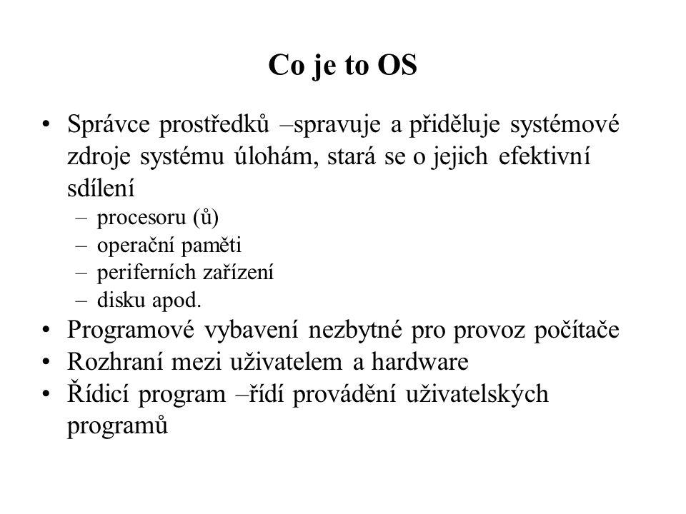 Co je to OS Správce prostředků –spravuje a přiděluje systémové zdroje systému úlohám, stará se o jejich efektivní sdílení.