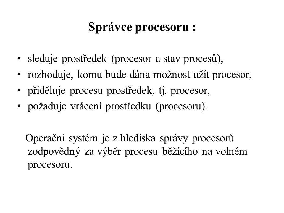 Správce procesoru : sleduje prostředek (procesor a stav procesů),