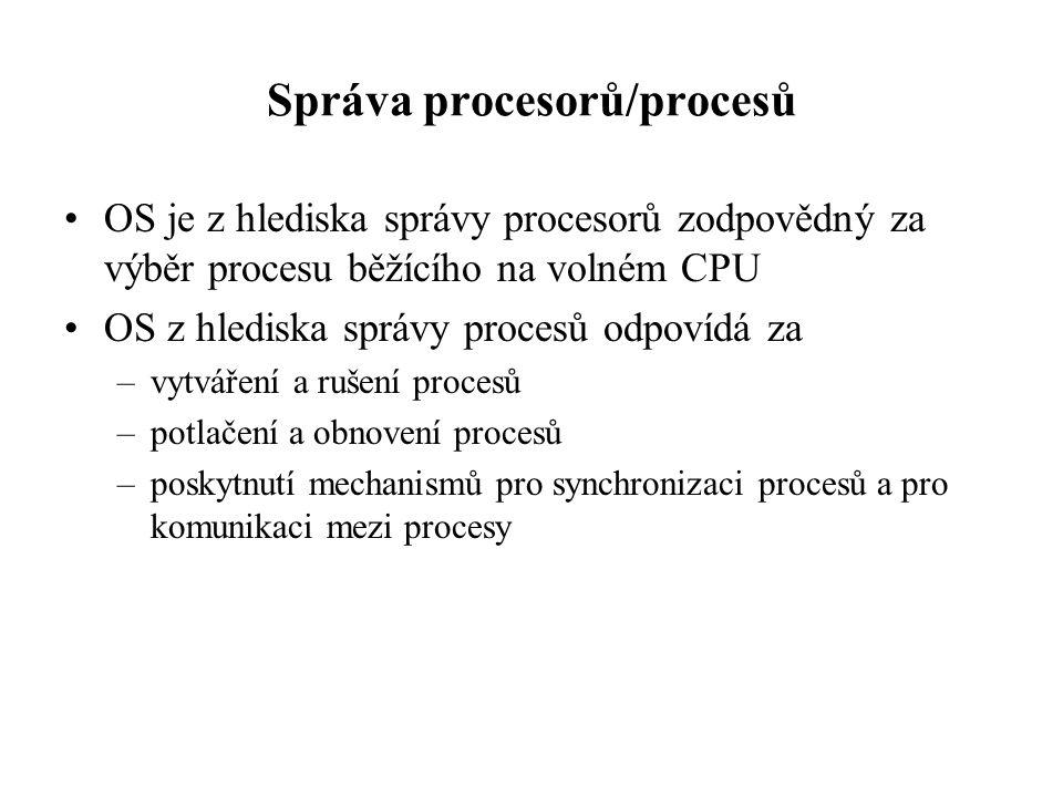 Správa procesorů/procesů