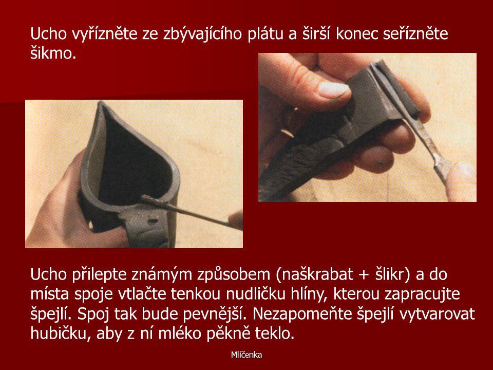 Ucho vyřízněte ze zbývajícího plátu a širší konec seřízněte šikmo.