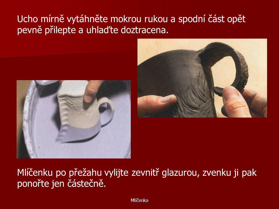 Ucho mírně vytáhněte mokrou rukou a spodní část opět pevně přilepte a uhlaďte doztracena.