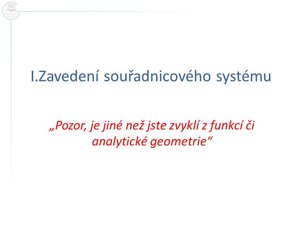 I.Zavedení souřadnicového systému