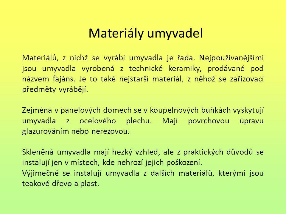 Materiály umyvadel