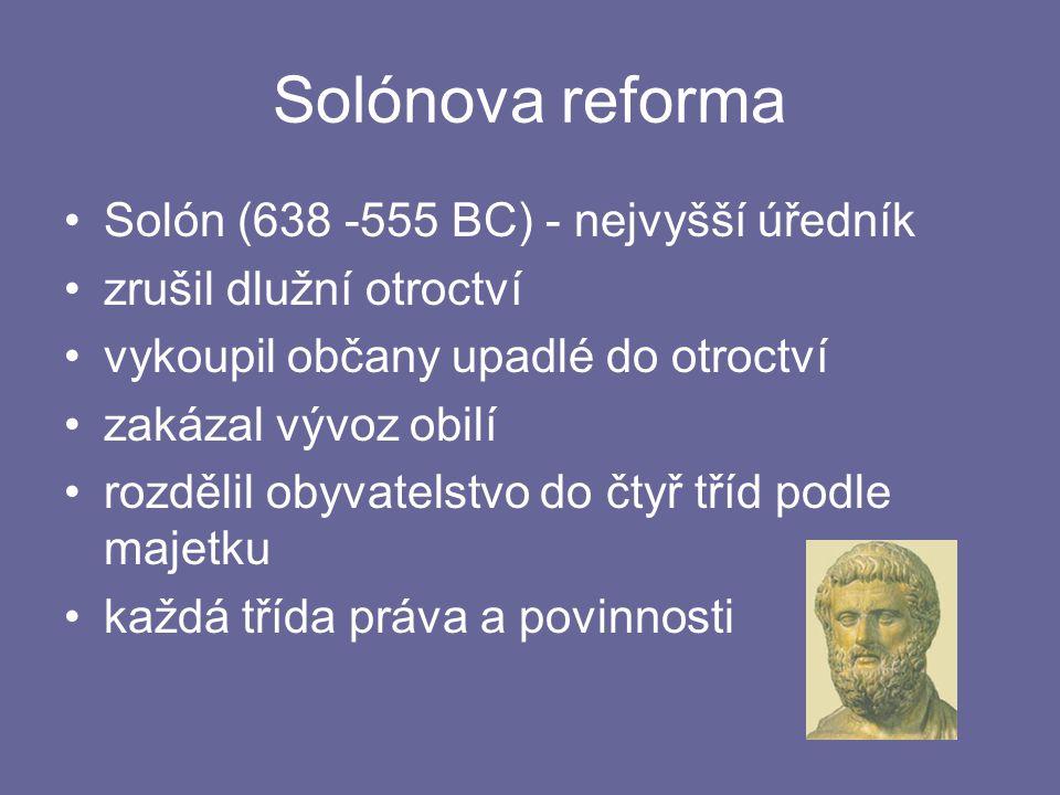 Solónova reforma Solón (638 -555 BC) - nejvyšší úředník