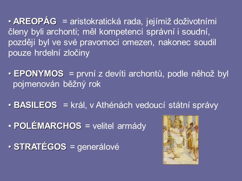 AREOPÁG = aristokratická rada, jejímiž doživotními členy byli archonti; měl kompetenci správní i soudní, později byl ve své pravomoci omezen, nakonec soudil pouze hrdelní zločiny
