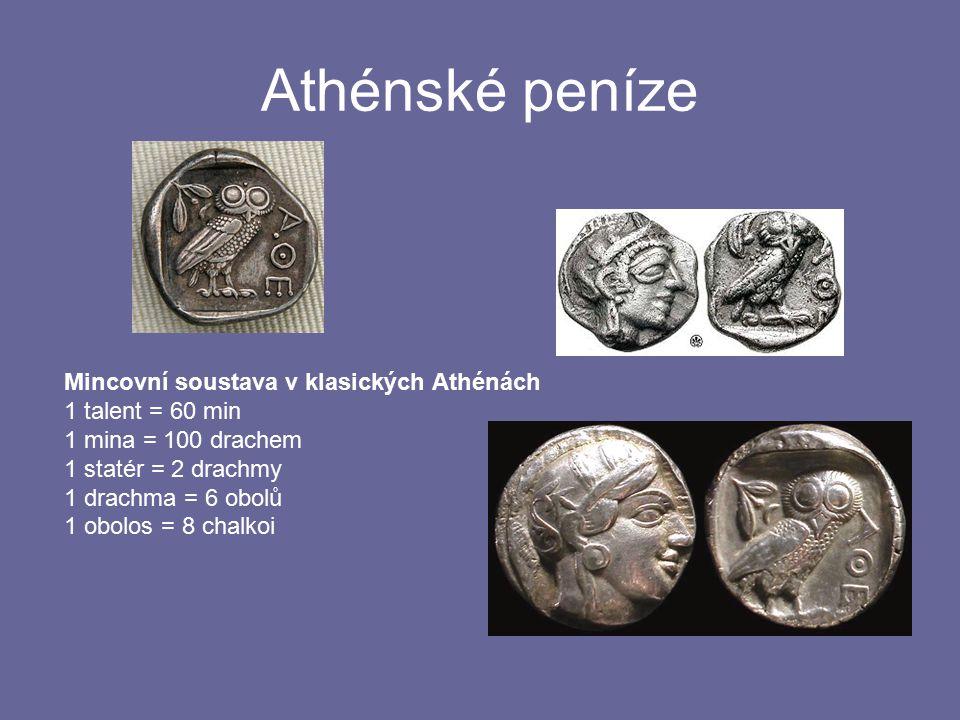 Athénské peníze Mincovní soustava v klasických Athénách