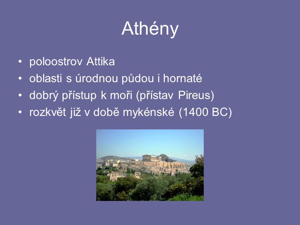Athény poloostrov Attika oblasti s úrodnou půdou i hornaté