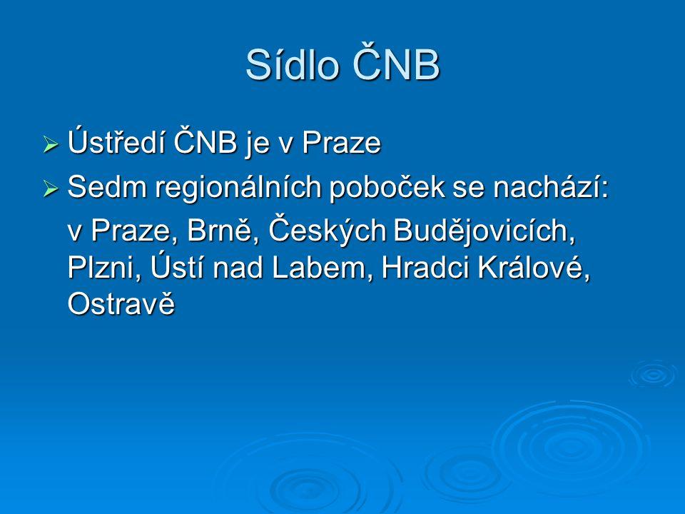 Sídlo ČNB Ústředí ČNB je v Praze Sedm regionálních poboček se nachází: