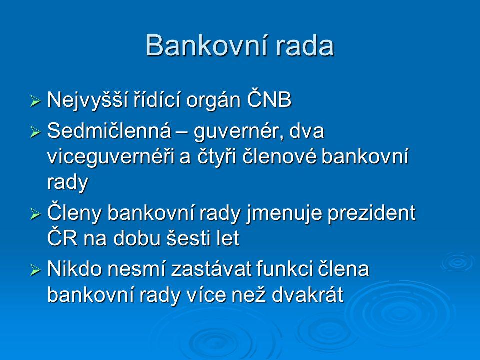 Bankovní rada Nejvyšší řídící orgán ČNB