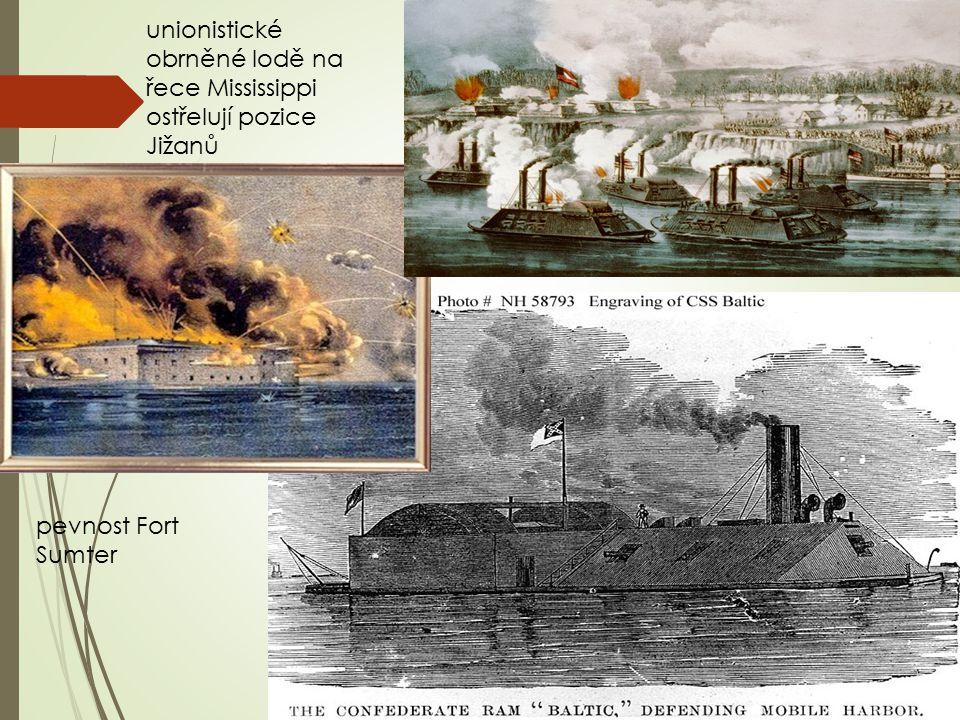 unionistické obrněné lodě na řece Mississippi ostřelují pozice Jižanů