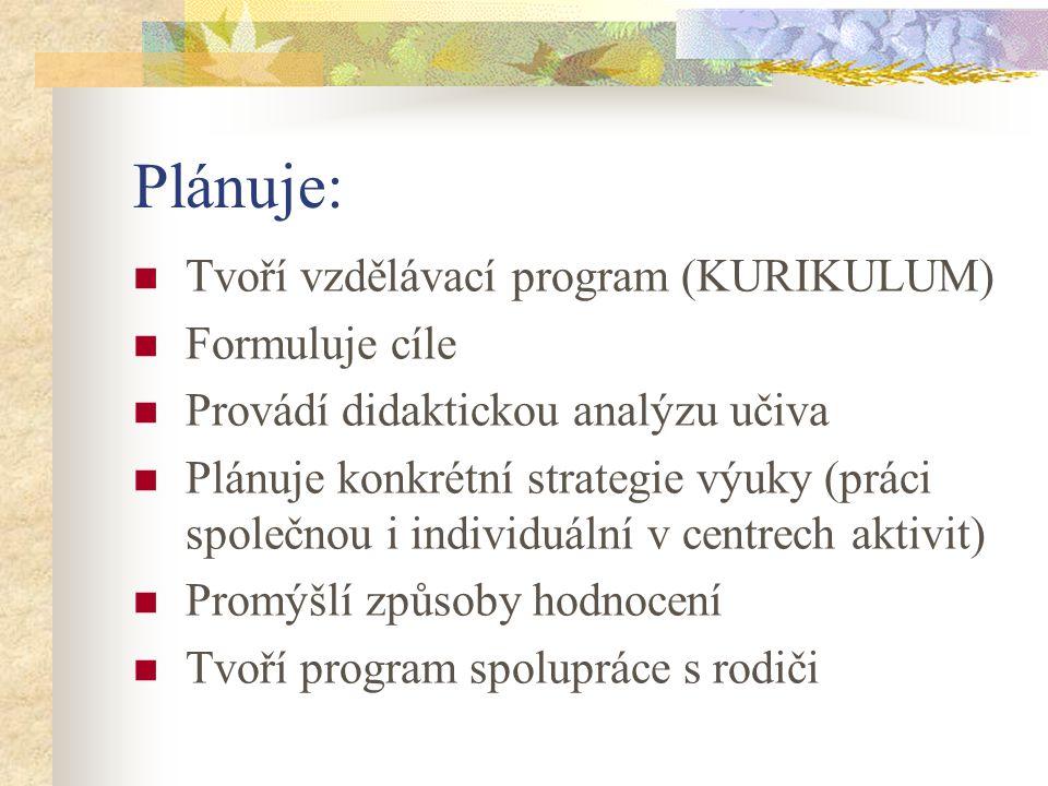 Plánuje: Tvoří vzdělávací program (KURIKULUM) Formuluje cíle
