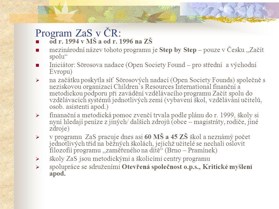 Program ZaS v ČR: od r. 1994 v MŠ a od r. 1996 na ZŠ