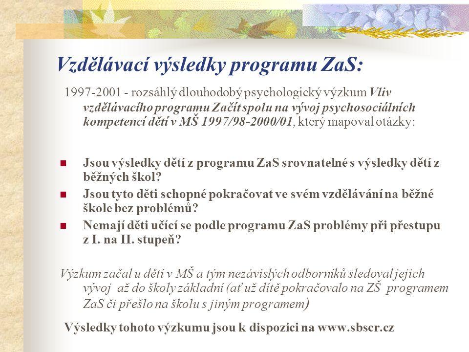 Vzdělávací výsledky programu ZaS: