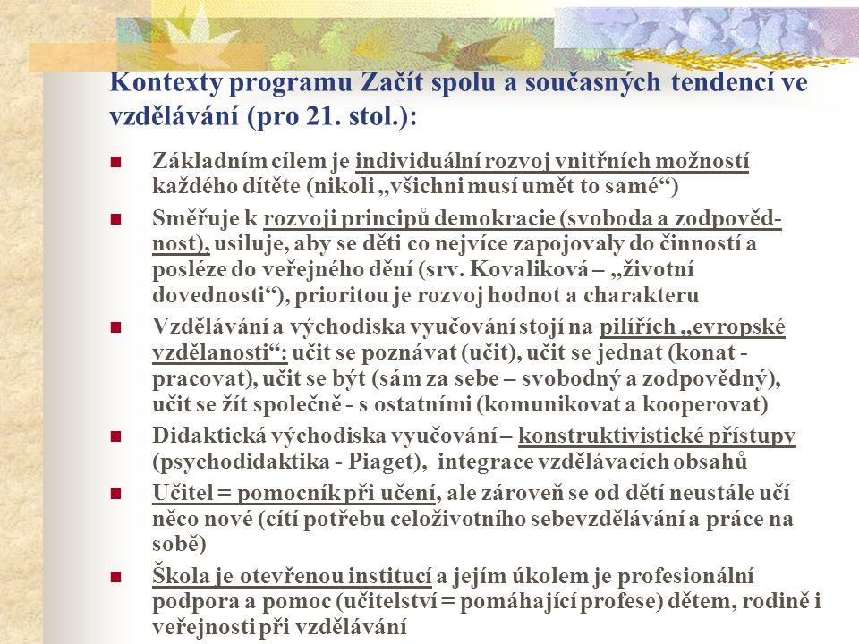 Kontexty programu Začít spolu a současných tendencí ve vzdělávání (pro 21. stol.):