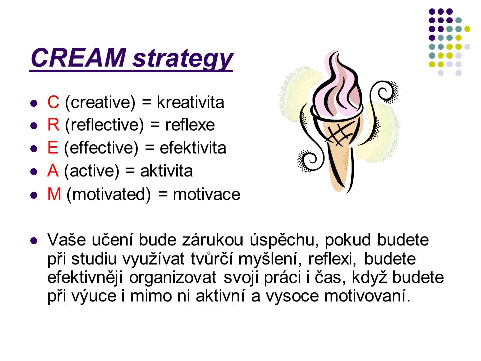 CREAM strategy C (creative) = kreativita R (reflective) = reflexe