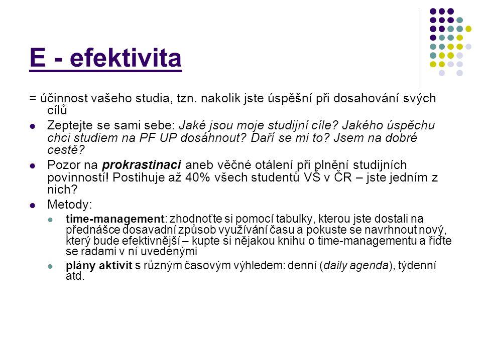 E - efektivita = účinnost vašeho studia, tzn. nakolik jste úspěšní při dosahování svých cílů.