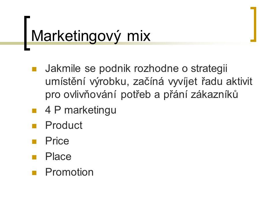 Marketingový mix Jakmile se podnik rozhodne o strategii umístění výrobku, začíná vyvíjet řadu aktivit pro ovlivňování potřeb a přání zákazníků.