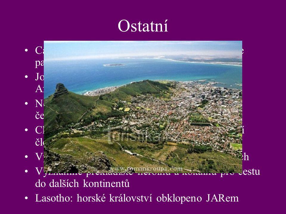 Ostatní Cape Town: legislativní hlavní město, sídlí zde parlament, mys Dobré Naděje, tučnáci.
