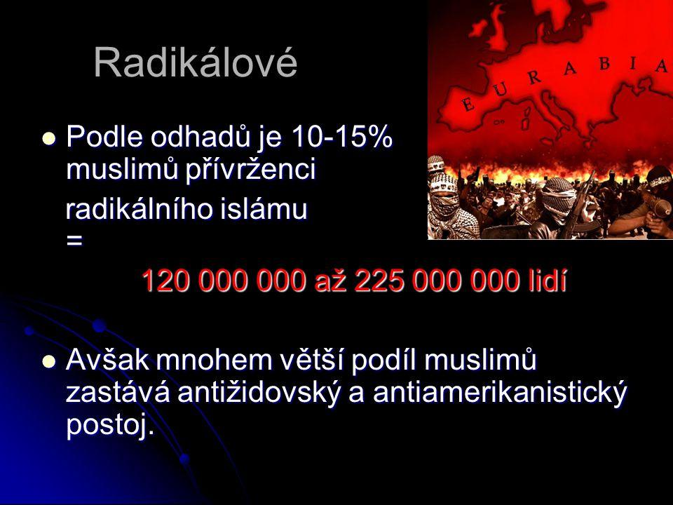 Radikálové Podle odhadů je 10-15% muslimů přívrženci