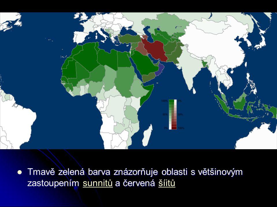 Tmavě zelená barva znázorňuje oblasti s většinovým zastoupením sunnitů a červená šíitů