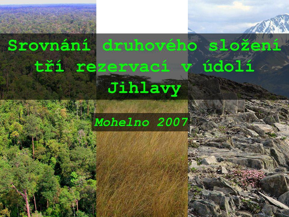 Srovnání druhového složení tří rezervací v údolí Jihlavy