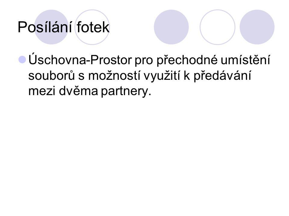 Posílání fotek Úschovna-Prostor pro přechodné umístění souborů s možností využití k předávání mezi dvěma partnery.