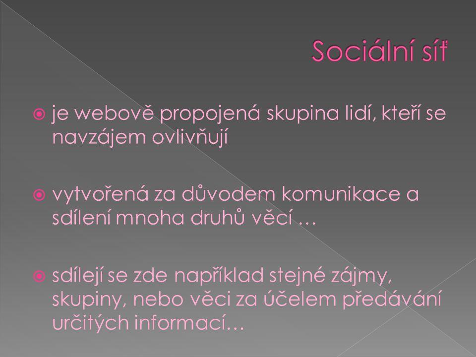 Sociální síť je webově propojená skupina lidí, kteří se navzájem ovlivňují. vytvořená za důvodem komunikace a sdílení mnoha druhů věcí …