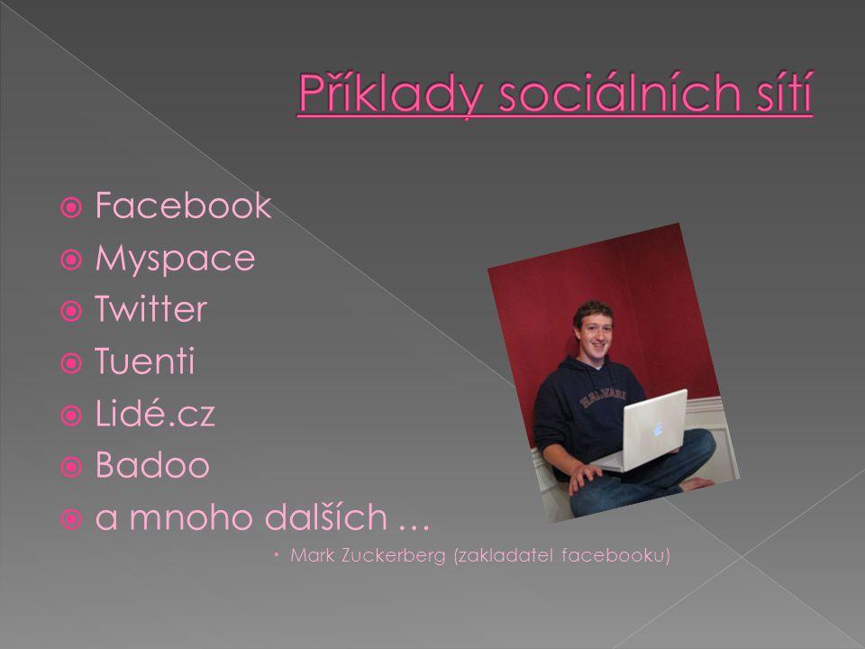 Příklady sociálních sítí