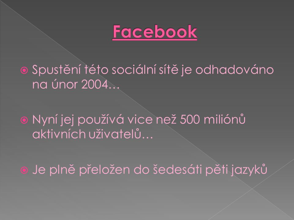 Facebook Spustění této sociální sítě je odhadováno na únor 2004…